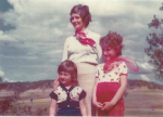 My mum Roslyn, my sister and I rocking the 1970s polyester in the outback Queensland heat. I do believe my scarf is wrapped around my Nonna's long-suffering cat's neck (out of shot).